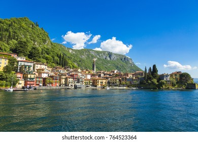 Lake Como and colorful Varenna town in Italy