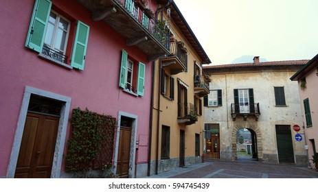LAKE COMO, ITALY - FEBRUARY 19, 2017: Winter with colorful houses in the hamlet of Mandello del Lario near Lecco on Lake Como, Italy