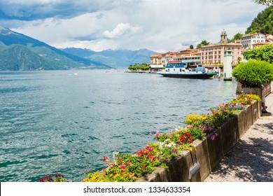 Lake Como, Italy - June 13, 2012: Summer lake shore view, Bellagio.