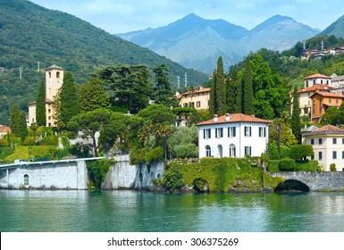 Lake Como (Italy) shore summer  view from ship board