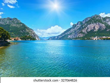 Lake Como (Italy) summer sunshine view from shore.
