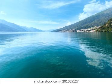 Lake Como (Italy) summer view from ship board
