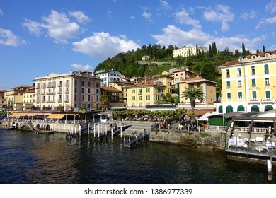 Lake Como, Lombardy / Italy - April 19 2019: Photo from beautiful village of Bellagio in lake Como at spring