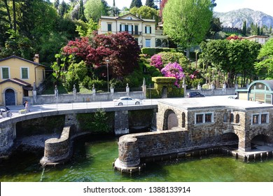 Lake Como, Lombardy / Italy - April 19 2019: Photo from beautiful Villa Carlotta with iconic botanic gardens at spring, Lombardy, Italy