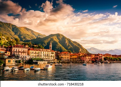 Lake Como, Menaggio, Italy. People on a boat ride on the lake. Summer time. European vacation, living life style, architecture and travel concept.. Vintage post processed