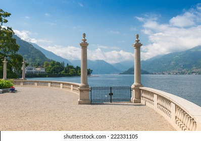 Lake Como seen from the romantic terrace of Villa Melzi in late summer, Lake Como, Northern Italy, Europe