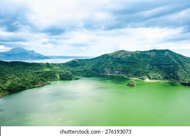 Lake crater at Taal volcano,Tagaytay city,Philippine.