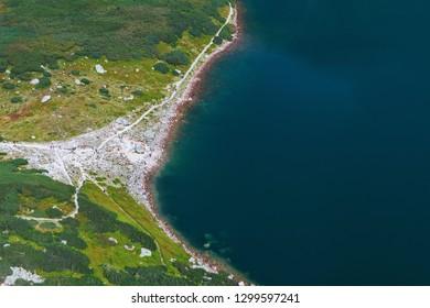 Lake Czarny Staw Gasienicowy aerial view