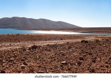 lake in the desert in the sun