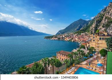 Lake di Garda view and Limone sul Garda town, famous tourist destination in Italy