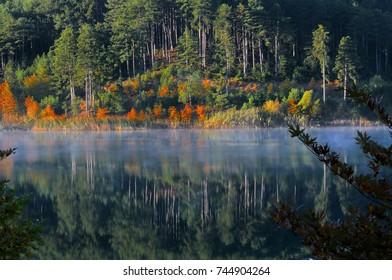 Lake Doxa, Feneos Greece. Artificial lake.