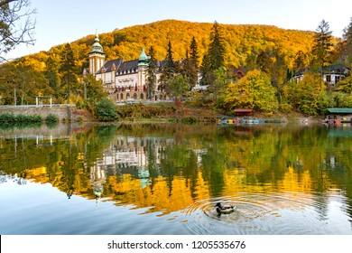 Lake with a duck in the mountains in autumn colours with a fairytale castle in Lillafured, Miskolc, Hungary