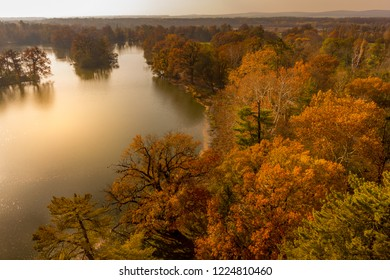 Lake during autumn in Lednice Park, Czech Republic