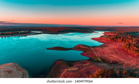 Lake Early Morning Sunrise - Red Sky Red Landscape