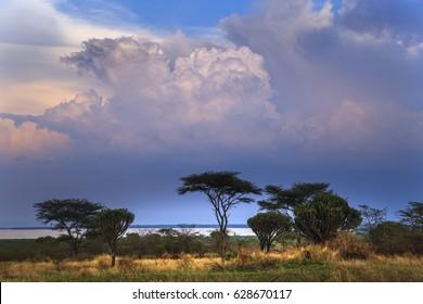 Lake Edward in Queen Elizabeth National Park, Uganda