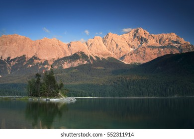Lake Eibsee at Sunset, Alpenglow on Mount Zugspitz, Bavaria, Germany