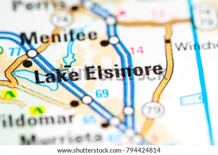 Lake Elsinore California Usa On Map Stock Photo Edit Now 794424814