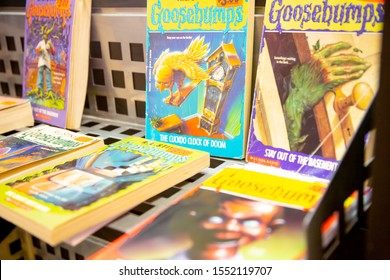 Lake Elsinore, California/United States - 09/04/2019: Several Goosebumps series books on sale at a local used book store.