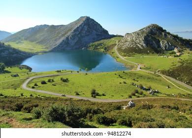 Lake Enol. Lagos de Covadonga, Asturias.