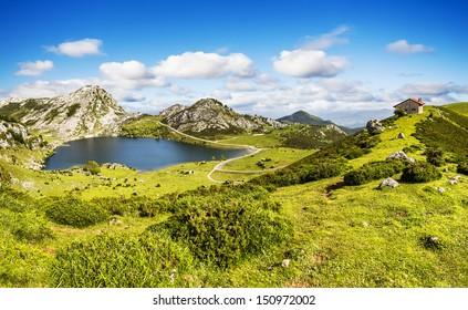 Lake Enol and mountain retreat, the famous lakes of Covadonga, Asturias , Spain