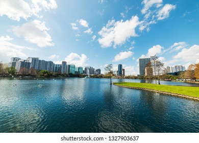 Lake Eola park with downtown Orlando on the background. Central Florida, USA