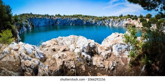 Lake Dragon's Eye, a unique geohydromorphological phenomenon on the eastern Adriatic coast.