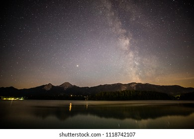 Lake Faak Nightsky View To Mt. Mittagskogel In Carinthia Austria