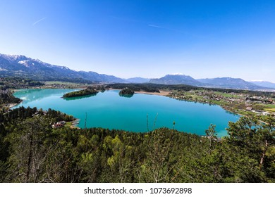 Lake Faak Panorama View From Tabor Heights In Carinthia Austria