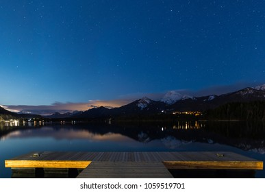 Lake Faak View To Mt. Mittagskogel By Night In Carinthia Austria