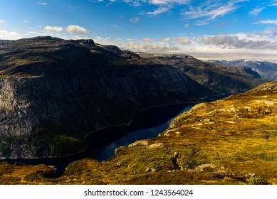 A lake at famous Trolltunga, Norway