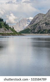 Lake Fedaia, Dolomites, Italy.