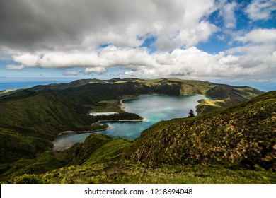 Lake of Fire Lagoa do Fogo in the crater of the volcano Pico do Fogo on the island of Sao Miguel. Sao Miguel is part of the Azores archipelago in the Atlantic Ocean.