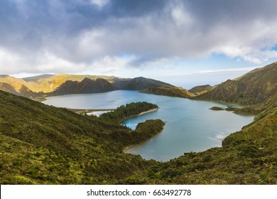Lake of Fire (Lagoa do Fogo) in the crater of the volcano Pico do Fogo on the island of Sao Miguel. Sao Miguel is part of the Azores archipelago in the Atlantic Ocean.