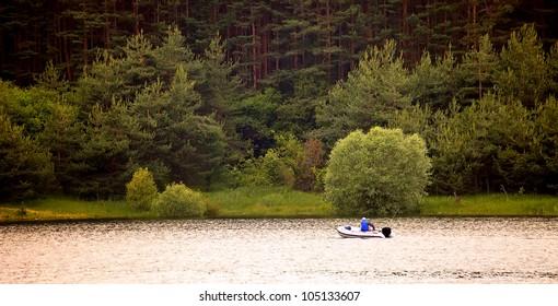 lake and fishing boat