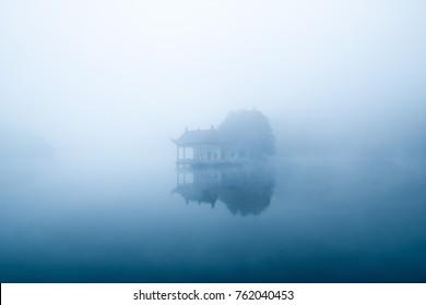 lake in fog, mount lu scenic area landscape, China