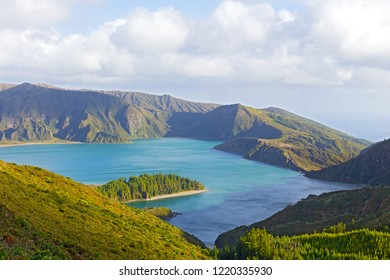 Lake Fogo, Sao Miguel Island, Azores, Portugal. Lagoa do Fogo (Lake of Fire) is the highest lake of Sao Miguel island and surrounded by Natural Reserve.
