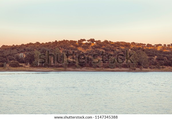 Lake in the foreground, with montains of eucalyptus and oaks with parts of shade and others illuminated by sunlight, Spain