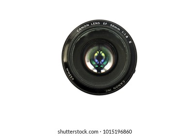 Lake Forest CA - January 31, 2018: Canon 50 mm lens isolated on white. Known as the Nifty Fifty this lens is the most popular of the inexpensive camera lenses.