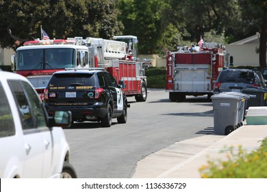 Lake Forest, California 7-16-2018: Orange County California Fire Authority respond to call about a woman stung hundreds of times by killer bees. Emergency response vehicles.  Editorial Use only.