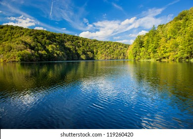 Lake in forest. Crystal clear water. Plitvice lakes, Croatia