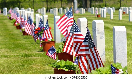 Lake Forest, IL, USA - May 23, 2015: A Memorial Day (Decoration Day) weekend afternoon view at Fort Sheridan Cemetery.