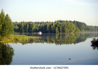 Lake and forest in Moscow region, Russia