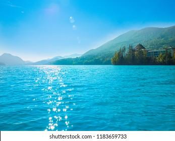 Lake Fuschlsee, Salzkammergut, Austria, on a sunny summer day.