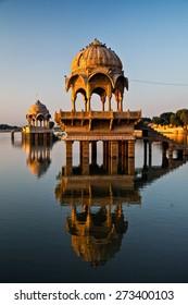 Lake Gadisar, Jaisalmer, Rajasthan, India- Sunrise at lake Gadisar (Gadi Sagar)