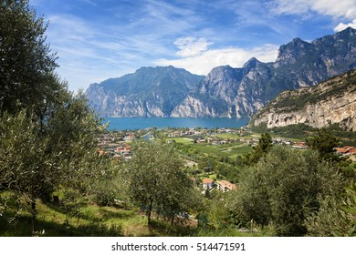 Lake Garda (Lago di Garda), Italy, 3 Aug 2016 - Spectacular view from Marmitte of Giants scenic and panoramic view point between Torbole and Nago-Torbole small towns