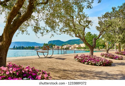 Lake Garda with nice walkways and beaches at Bardolino in Italy