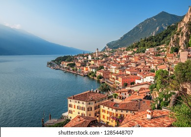 Lake Garda view in Limone sul Garda, famous tourist destination in Italy