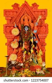 Lake Gardens, Kolkata, India: Nov 7 2018-Goddes Kali is worshipped by people of Hindu religion on no moon day. goddess kali is a power who was created by shiva, bramha and vishnu to destrot demon.