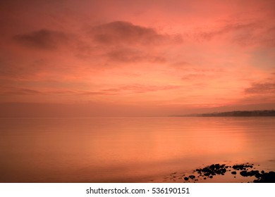 Lake Geneva after sunset, Western Switzerland