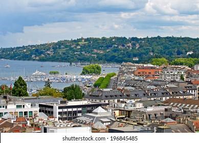 LAKE GENEVA, GENEVA/SWITZERLAND - AUGUST 20, 2006: Cityscape view and shoreline of Lake Geneva from atop a cathedral tower. August 20, 2006 Geneva, Switzerland